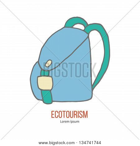 Travel Backpack. Ecotourism colorful flat design element isolated on a white background. Emblem, design concept, logo, logotype template. Hand drawn doodle vector illustration.