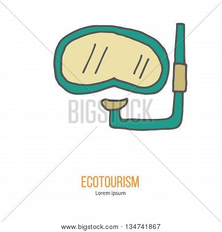 Diving mask with snorkel. Ecotourism colorful flat design element isolated on a white background. Emblem, design concept, logo, logotype template. Hand drawn doodle vector illustration.