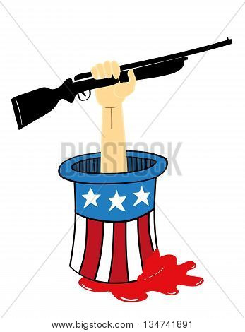Uncle Sam top hat from which an arm holding a rifle is sticking out with blood seeping from the hat as a metaphor for gun violence and control in the USA