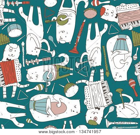 Seamless pattern with musician cats and music instruments in bright colors. Cats are playing on drum accordion tube guitar. Vector handdrawn illustration cute. Kind child cartoon for kids products
