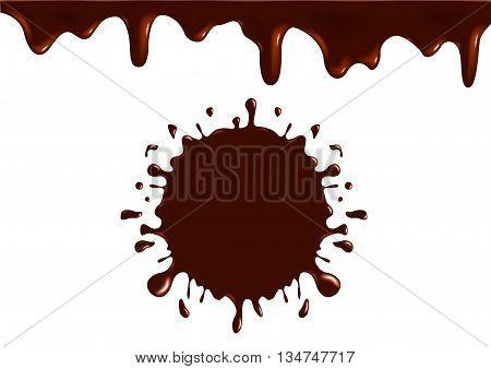 milk chocolate splash logo , icon and vector . tasty chocolate milk