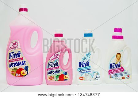 Berezovitsa, Ukraine - Circa June, 2016: Set Of Fabric Softener, Laundry Detergent Or Fabric Conditi