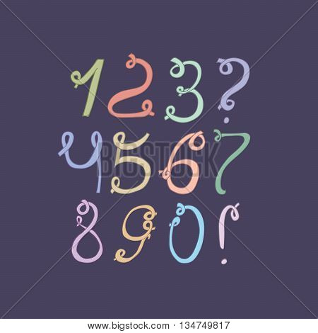 Hand drawn colorful funky digits isolated on dark blue background. Hand drawn sequence vector illustration. Numbers based on swirls loops and calligraphy style. Unique design for your lettering.