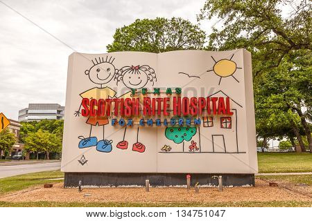 DALLAS USA - APR 9: The Scottish Rite Hospital for children in Dallas. April 9 2016 in Dallas Texas United States