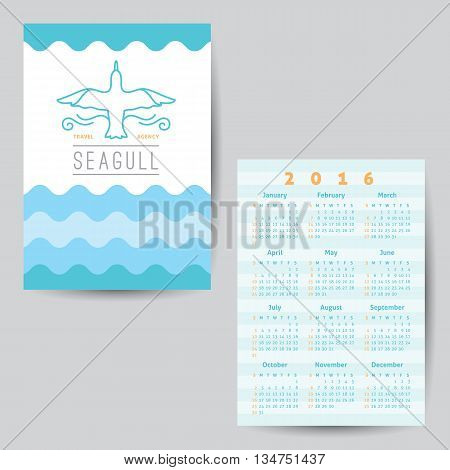logo of seagull and waves, vector template of calendar for travel agency