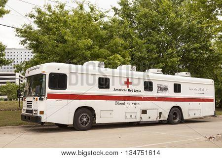 DALLAS USA - APR 9: American Red Cross Blood Service Vehicle in Dallas April 9 2016 in Dallas Texas United States