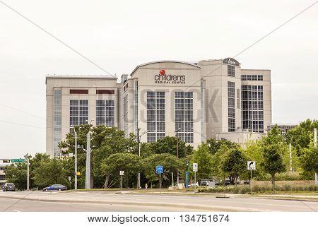 DALLAS USA - APR 9: Exterior of the Childrens Medical Center in Dallas April 9 2016 in Dallas Texas United States