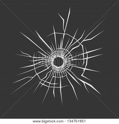 Bullet Hole in Glass. Dark Background. Vector illustration