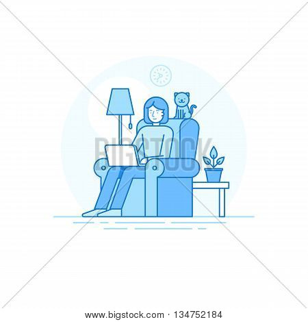 Home Office And Remote Creative Team Member - Outsource And Freelance Work Concept