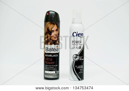 Berezovitsa, Ukraine - Circa June, 2016: Set Of Hairspray Balea And Hair Foam Cien