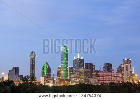 Dallas downtown skyline illuminated at night. Texas United States