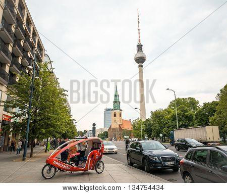 BERLIN, GERMANY- May 16: Tv tower or Fersehturm in Berlin on May 16, 2016. BERLIN, Germany.