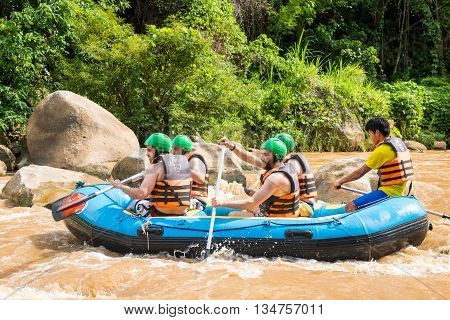 Whitewater Rafting On The Rapids Of  Maetang River On June 15, 2016