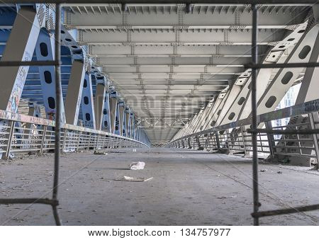 Unmanned space the metal bridge, perspective view