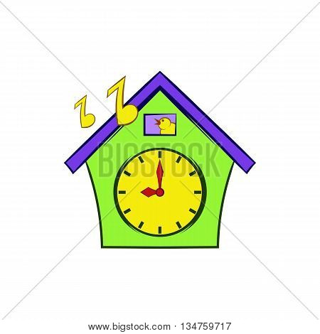 Cuckoo clock icon in cartoon style on a white background