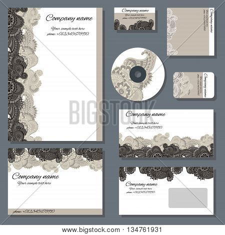 Set of templates for cd disks envelopes notebooks credit card business card and invitation card with floral ornament. Corporate style vector.