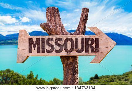 Missouri wooden sign with landscape background