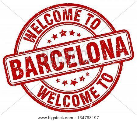welcome to Barcelona stamp. welcome to Barcelona.