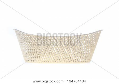 Empty White Basket Plastic, Isolated On White Background
