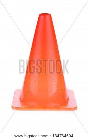 Orange Cone Used Warning Sign Under Construction Work Area, Isolated On White Background