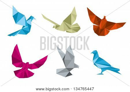 Paper pigeons, doves origami vector set. Dove and bird, wing dove paper, origami dove polygon illustration