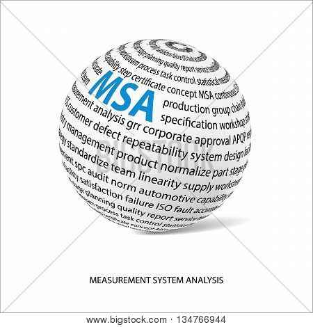 Measurement system analysis word ball. White ball with main title MSA and filled by other words related with MSA method. Vector illustration poster