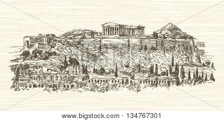 Greece, Athens, Acropolis. Hand drawn illustration.