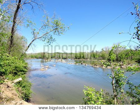 The landscape of Potomac River near Washington DC spring 2016 USA