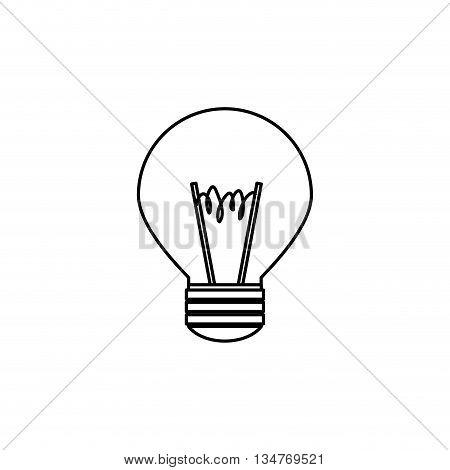 simple black line light bulb isolated over white