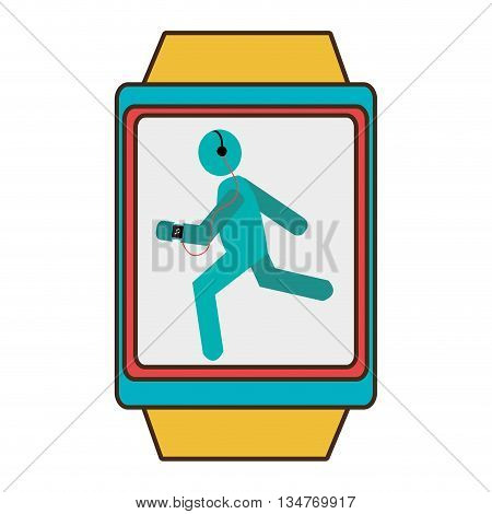 yellow watch with blue and red frame cartoon human running side vier with headphones over isolated background, vector illustration