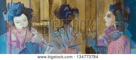 Original oil painting on canvas.Beautiful geisha in three states.
