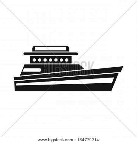Great powerboat icon in simple style isolated on white background. Sea transport symbol