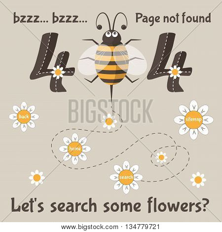 Page not found. 404 error message for web. Cartoon bee with flowers. Vector illustration
