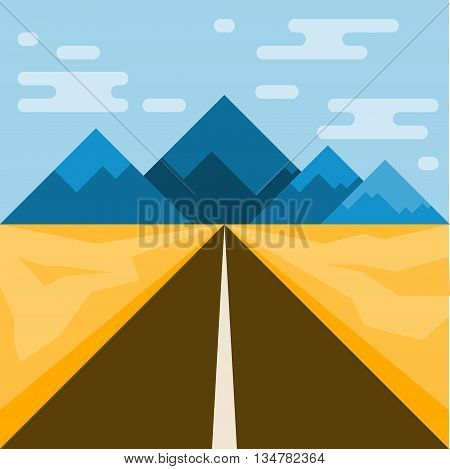Road and mountains. Abstract illustration for use in design. Flat style.