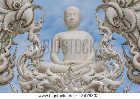 Buddha image in Wat Rong Khun - The White temple Chiang Rai, Thailand.
