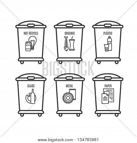 Set Of Trash Can Icon In Line Style