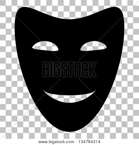 Comedy theatrical masks. Flat style black icon on transparent background.