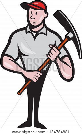 Illustration of a construction worker looking to the side holding pickaxe viewed from front set on isolated white background done in cartoon style.