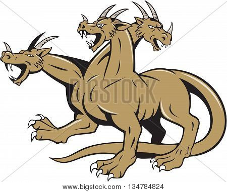 Illustration of hydra in Greek and Roman mythology a multi-headed serpent-like monster crouching ready to attack set on isolated white background done in cartoon style.