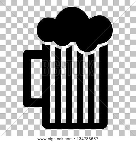 Glass of beer sign. Flat style black icon on transparent background.