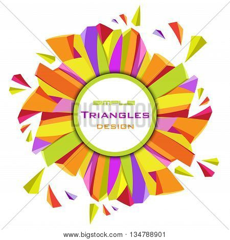 Abstract geometric triangles background. Circle yellow border frame geometric design. Orange, yellow, green, purple geometric abstract triangles border design in white background. Vector illustration.