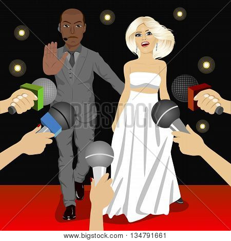 illustration of african american bodyguard protecting celebrity woman from press reporters