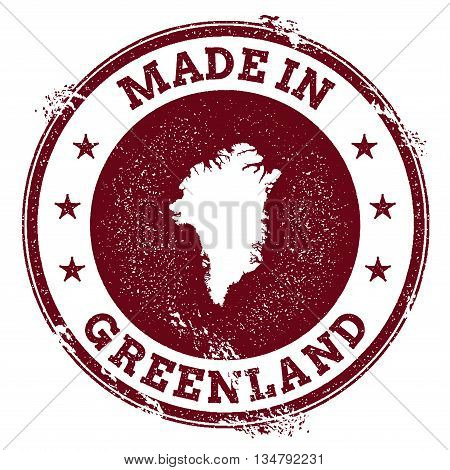 Greenland Vector Seal. Vintage Country Map Stamp. Grunge Rubber Stamp With Made In Greenland Text An