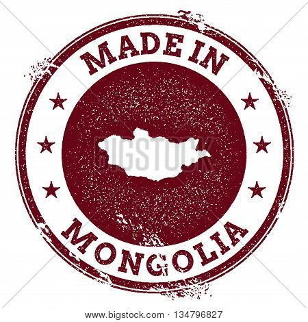 Mongolia Vector Seal. Vintage Country Map Stamp. Grunge Rubber Stamp With Made In Mongolia Text And