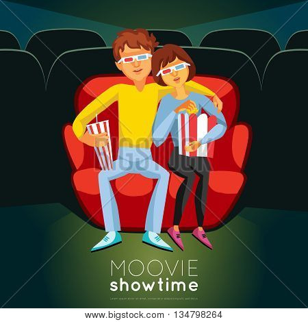 Cinema Time Background. Cinema Vector Illustration. Movie Night Design. Cinema Cartoon Decorative Symbols.