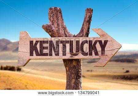 Kentucky wooden sign with a desert background