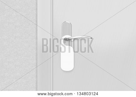 Door knob with blank doorhanger mock up 3d illustration. Empty white flyer mockup hang on door handle. Leaflet design on entrance doorknob. Dont disturb sign. Do not disturb signal.