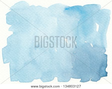 the simple plain abstract blue watercolor background
