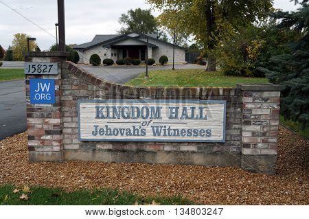 PLAINFIELD, ILLINOIS / UNITED STATES - OCTOBER 24, 2015: The Kingdom Hall of Jehovah's Witnesses offers worship services in Plainfield.