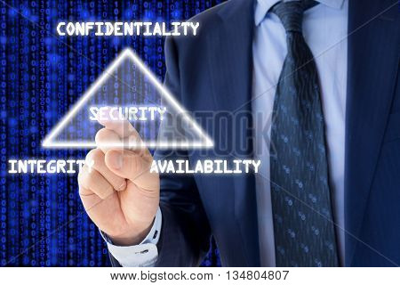 The basic concept of information security the CIA triangle illustrated by an IT expert on blue
